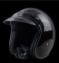 Carbon Fiber  Harley Helmets 3/4 Motorcycle Bike Helmet Open Face Vintage Motocross M L XL XXL free shipping