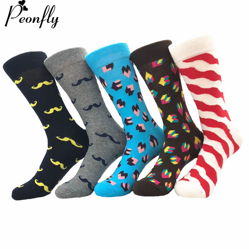 PEONFLY 5 pairs/lot Mens Colorful Novel Combed Cotton Socks Funny Classic Grid Moustache Pattern Dress Casual Crew Socks