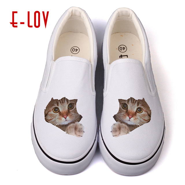 ef1d97a5db5e7 US $20.91 32% OFF|E LOV Cute Cat Shoes Women 2018 kawaii White Shoes Cat  Print Platform Slip On Animal Print Shoes Women Cat Face Shoes Adult-in ...