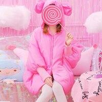 プリンセス甘いロリータパーカー韓国ファッション冬甘い帽子耳バットスリーブ緩い保つ暖かい綿のコートパーカー女