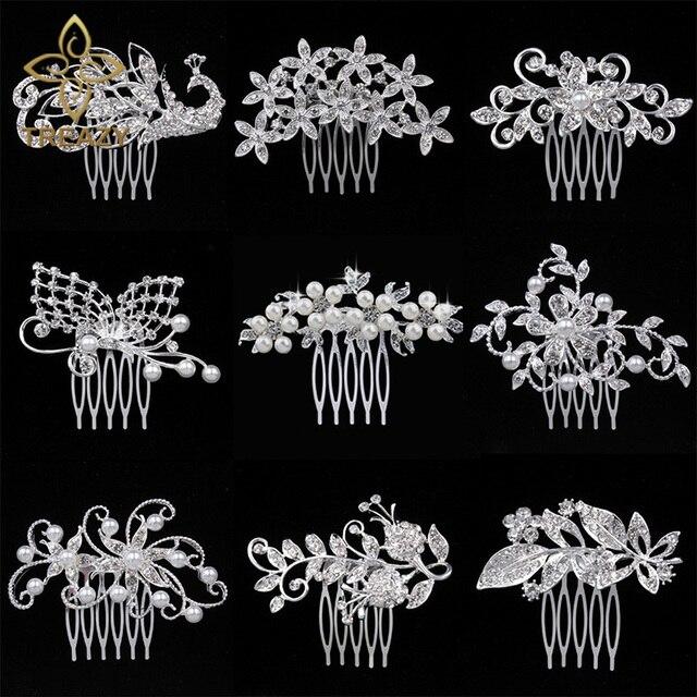 TREAZY Pretty Animal Leaf Flower Designs Sparkly Crystal Imitation Pearls Bridal