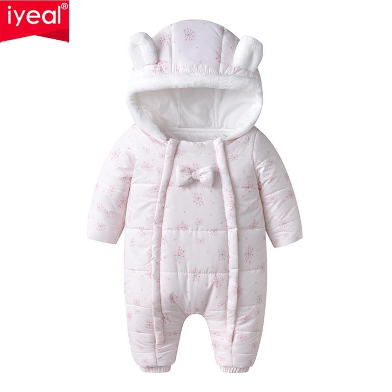 IYEAL Winter Princess Baby Girl Overalls Bodysuit Newborn Girl Cotton Warm Snowsuit Kids Infant Hooded Jumpsuit Snow Wear 3-24M