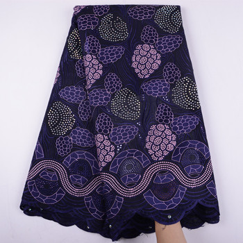Purple African Swiss Voile Lace Embroidery Nigerian Lace Fabric 2019 High Quality Lace African Lace Fabric For Dresses S1046