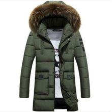B Parka Men Cotton Thick Jacket New Long Winter Parkas Warm Fashion Business Jackets Coats Fur Collar