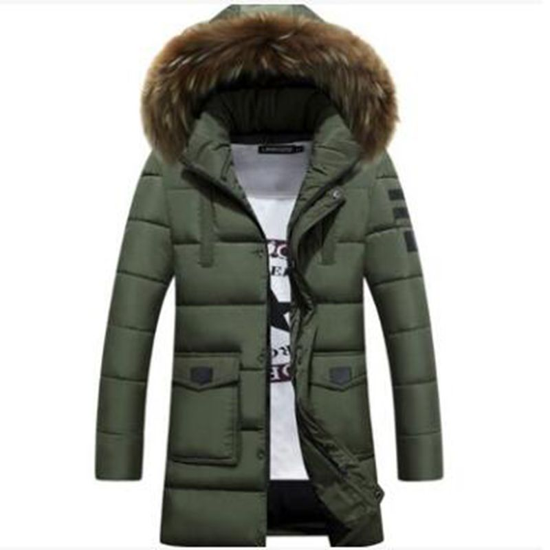 B   Parka   Men Cotton Thick Cotton Jacket New Long Winter   Parkas   Warm Fashion Business Cotton Jackets Coats Fur Collar