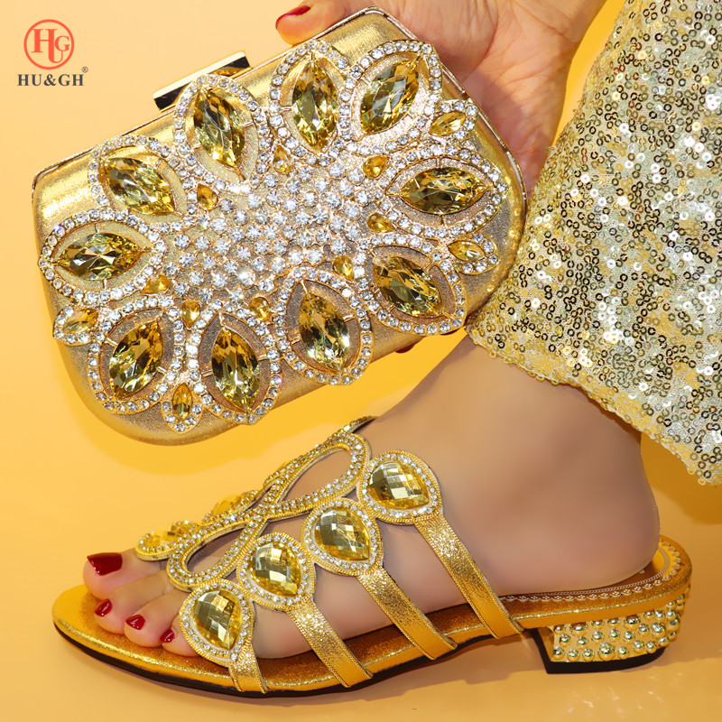 Latest Gold Color Matching Shoe and Bag Set Decorated with Rhinestone African Shoe and Bag Set