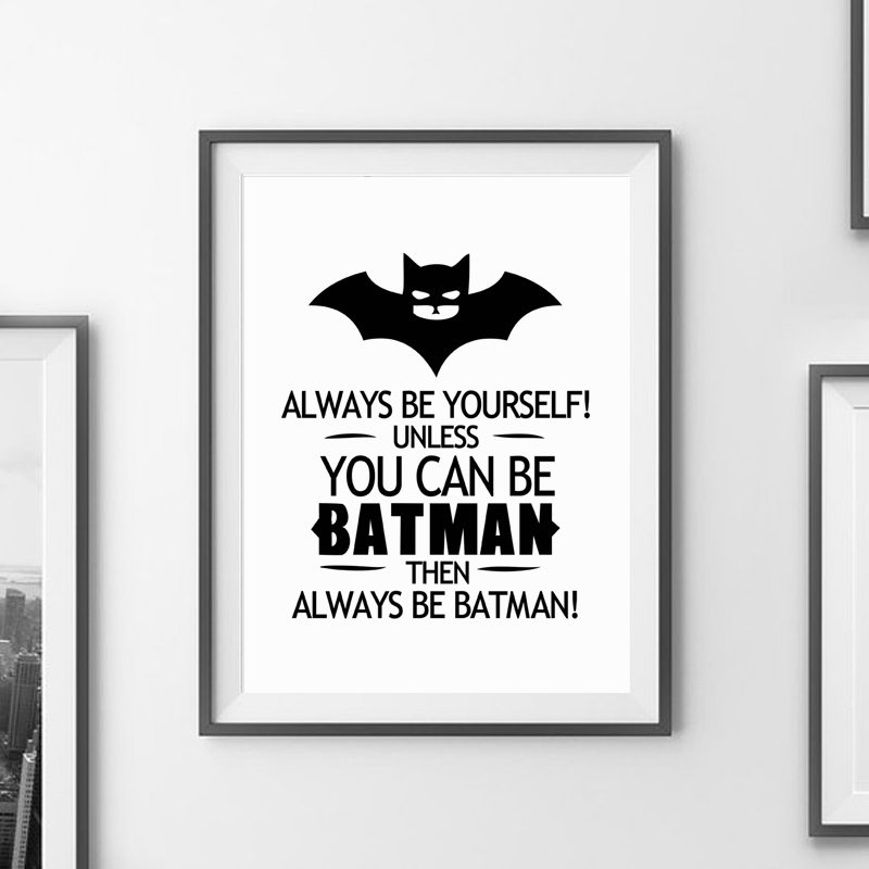 Batman quote canvas art print poster wall pictures for home decoration black and white prints wall decor art frame not include in painting calligraphy