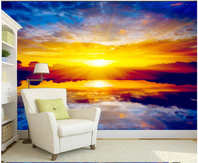 Custom paper DE parede 3 d, large murals sunset scenery for the bedroom living room TV wall vinyl which wallpaper  for the wall blue earth cosmic sky zenith living room ceiling murals 3d wallpaper the living room bedroom study paper 3d wallpaper