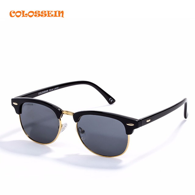 Colossein Blue Label 2017 Sunglasses Men Oval Vintage Metal Frame Multicolor Polarized Lense Men Classic High Quality Eyewear