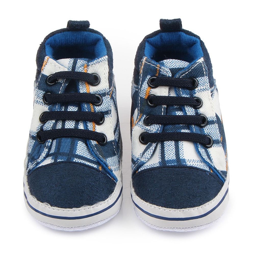 Classic Gingham Baby Sneakers Soft Bottom Plaids Sports