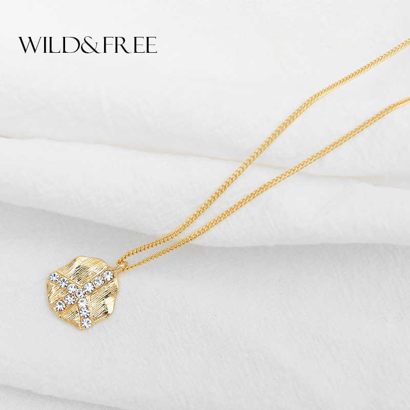 Wild&Free Handmade Irregular Round Pendant Necklace For Women Girl Alloy Brushed Rhinestone Airplane Short Chain Necklace Gift