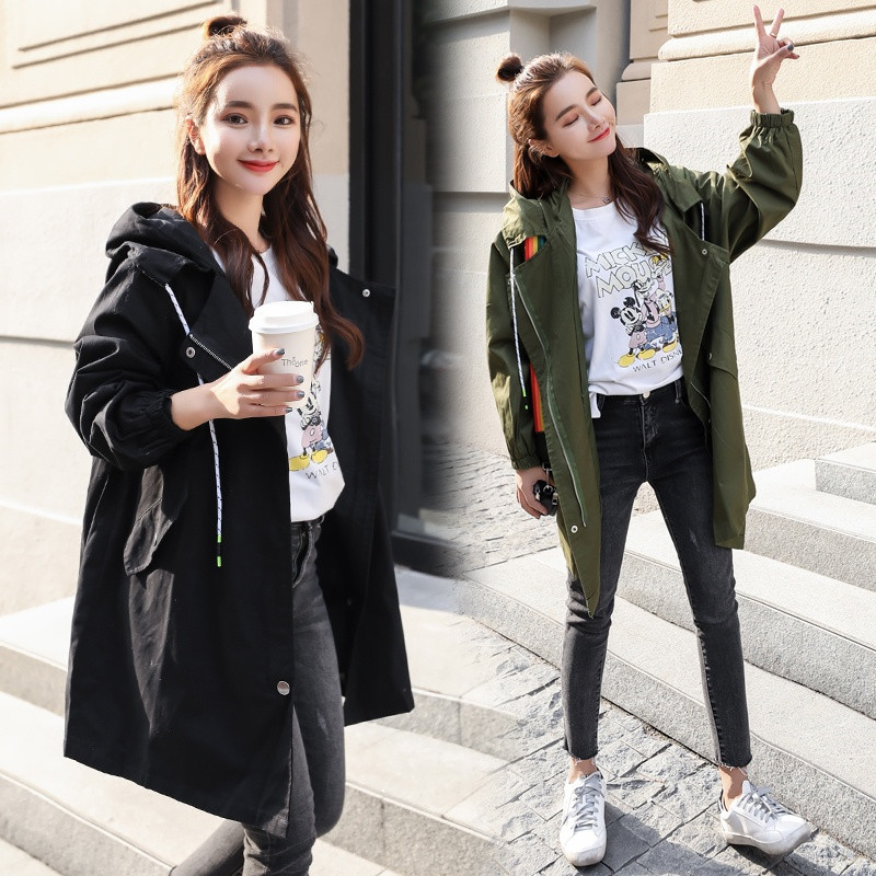 2018 New Women Hooded Coat Spring Autumn Harajuku BF Thin   Trench   Casual Loose Outerwear Female Clothes Windbreaker Coats A1462