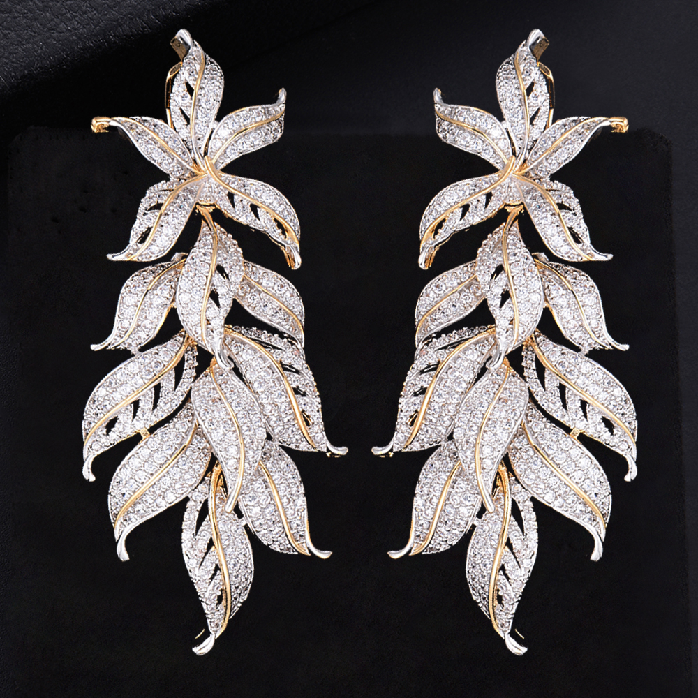 78mm Fashion Leaves Cluster Drop Dangle Long Earrings For Women Wedding Bridal Jewelry