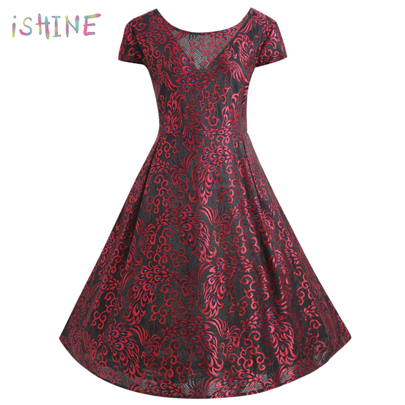 Plus Size 5XL Sexy Vintage Retro Backless Lace Dress Women Summer Short Sleeve A Line Mesh dress Elegant Party Dress Large Size
