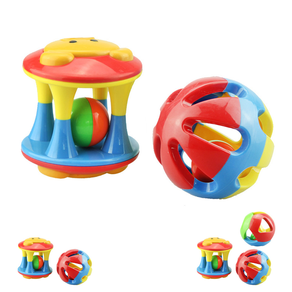 Baby Colorful Rattles Plastic Hand Shake Bell Ring Baby Educational Baby Grasping Rattle Toys Cartoon Educational Toys Babies
