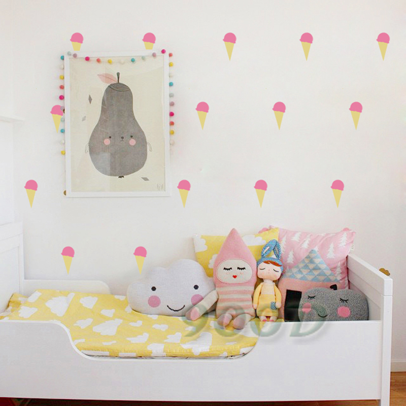 Cartoon little ice cream wall stickers wall decals for Deco mural stickers