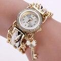 2016 Tecer Mão reloj mujer montre femme Moda Relógios Das Mulheres De Luxo Ouro Branco Cristal Quartzo Analógico Relógio Para Senhora Senhoras relojes