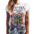 2016 Graphic Tees Women Harajuku Flower Printed Letter tshirt Womens t shirts Colorful Casual Tees Tops Hipster Camisetas Mujer