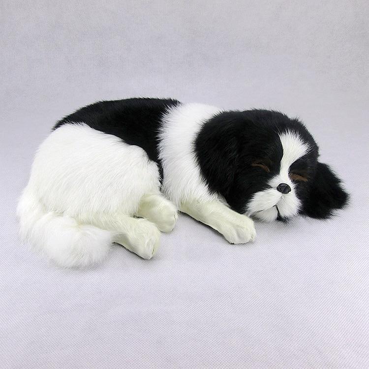 new simulation sleeping dog plastic&fur black&white dog model gift about 36x25x14cm a81 big sitting simulation white cat model plastic