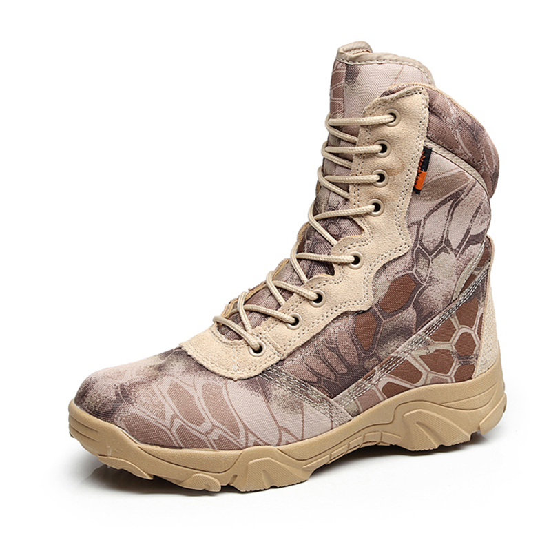 Python Camouflage High Tube Leather Waterproof Ankle Boots Men Outdoor Camping Climbing Hunting Breathable Tactical Combat