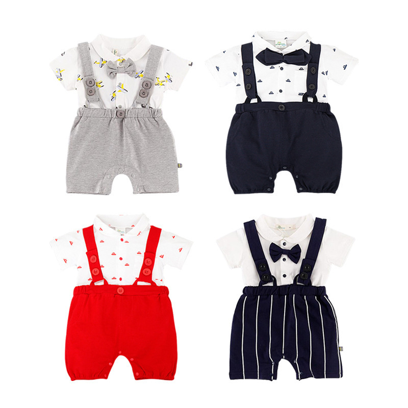 Best selling belt jumpsuit newborn baby boy girl striped bow tie clothes 2019 spring