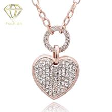 Christmas Gift Fashion Rose Gold Color Jewelry Ornaments Austrian Crystal Heart Love Pendant Long Chain Necklace for Women