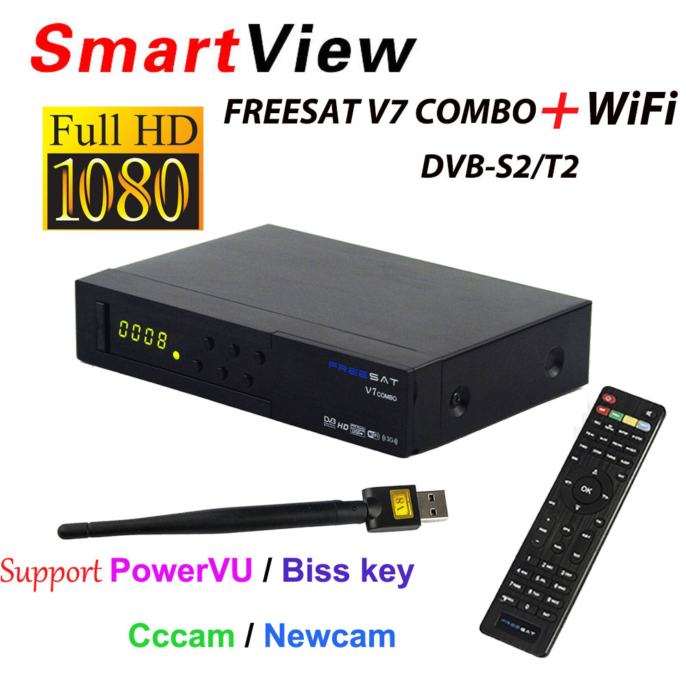 [Genuine] Freesat V7 Combo receptor HD Satellite Receiver DVB-S2 DVB-T2 Support PowerVu Biss Key Cccam Newcam Youtube DVB T2 S2 freesat v8 golden support powervu biss key cccam iptv usb wifi dvb t2 dvb s2 dvb c satellite receiver dvb t2 s2 cable receptor