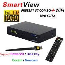 [Подлинный] freesat V7 комбо рецепторов HD спутниковый ресивер DVB-S2 DVB-T2 Поддержка powervu Biss ключ CCcam Newcam YouTube DVB s2 T2