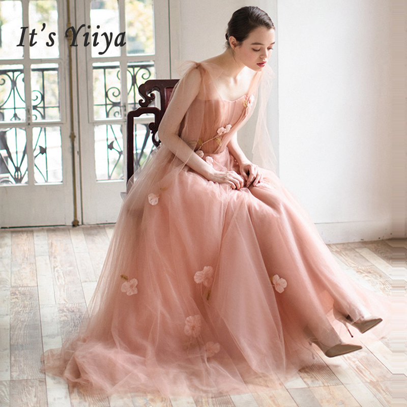 It's Yiiya Evening Dress Boat Neck Women Party Dresses Flowers Zipper Robe De Soiree 2019 Pleat Sleeveless Formal Gowns E673