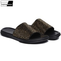 2019 Runway New Mens Shiny Crystal Studded Slippers High Quality Genuine Leather Rivets Platform Slides Casual Streetwear Shoes