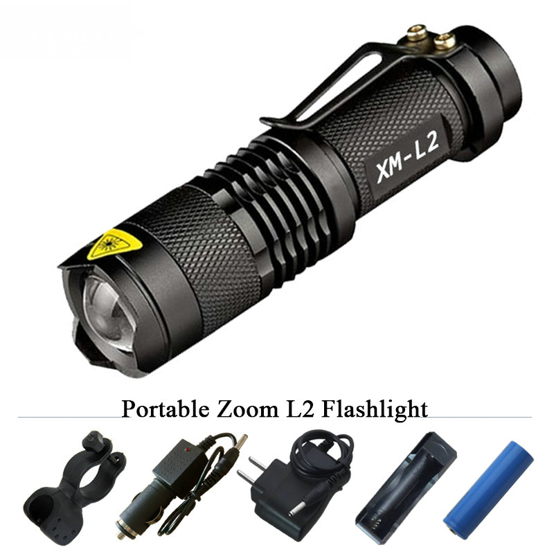 Portable 3800 Lumen Led Torch CREE XM-L2 Flashlight Tactical lantern 5 mode led waterproof 18650 rechargeable battery flashlight led tactical flashlight 501b cree xm l2 t6 torch hunting rifle light led night light lighting 18650 battery charger box
