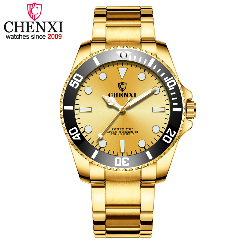 CHENXI Mode Uhr Für Männer Goldene Quarz-armbanduhr Mens Marke Luxus Mann-betrieb Uhren Männlichen Wasserdicht Relogio Masculino