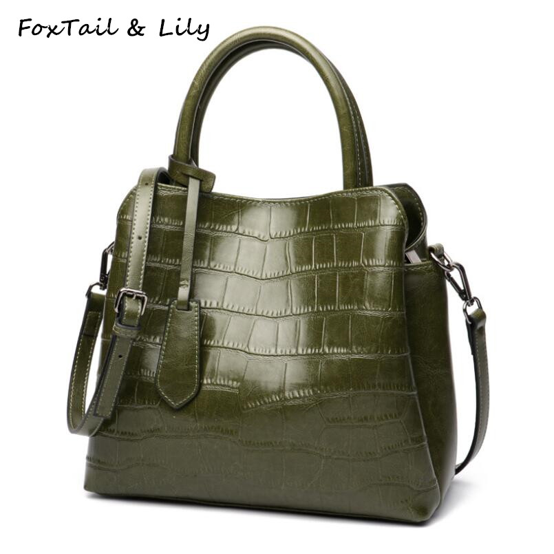 FoxTail & Lily Stone Pattern Design Genuine Leather Vintage Tote Handbags Large Capacity Female Shoulder Crossbody Messenger BagFoxTail & Lily Stone Pattern Design Genuine Leather Vintage Tote Handbags Large Capacity Female Shoulder Crossbody Messenger Bag