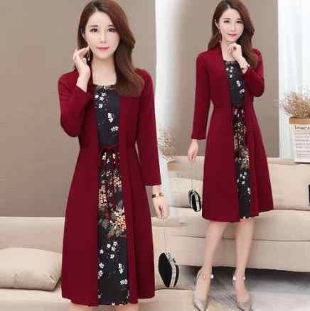 Damska na co dzień, do kolan sukienka plus size druku sukienka jesienna dla oficjalnej damskiej kobiety luźne elegancka sukienka szata longue LA232