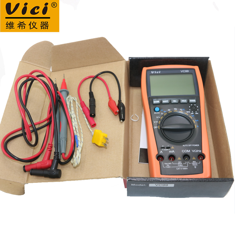 Vici VC99 Auto Range 3 6/7 Analog read Digital Multimeter 20A Resistance Capacitance ACV/DCV/ACA/DCA Meter & Probe with Box vc99 auto range 3 6 7 digital multimeter 20a resistance capacitance meter voltmeter ammeter alligator probe thermal couple tk