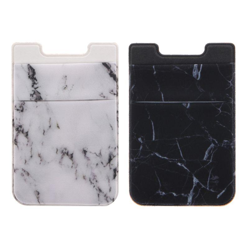 Lycra Black Elastic Mobile Phone Wallet Credit ID Card Holder Adhesive Pocket Sticker