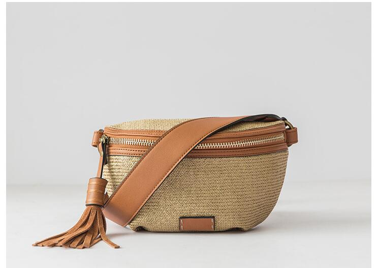 2019 New Style Leather Knit Women Tassel Belt Bag Waist Packs