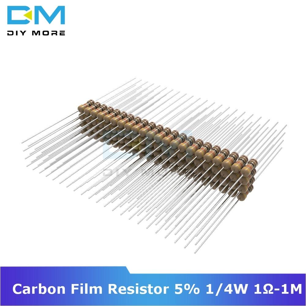 100 шт., карбоновый пленочный резистор 5% 1/4 Вт 0,25 Вт 1R-1M Ом 1 к 2,2 к 4,7 к 5,1 К 6,8 к 10 к 15 к Сопротивление 1% + 1% -1%, сделай сам, электронный