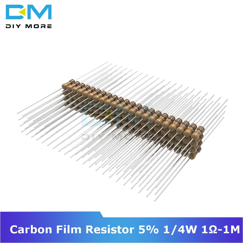 100PCS Diymore Carbon Film Resistor 5% 1/4W 0.25W 1R-1M Ohm 1K 2.2K 4.7K 5.1K 6.8K 10K 15K Resistance 1% +1% -1% Diy Electronic