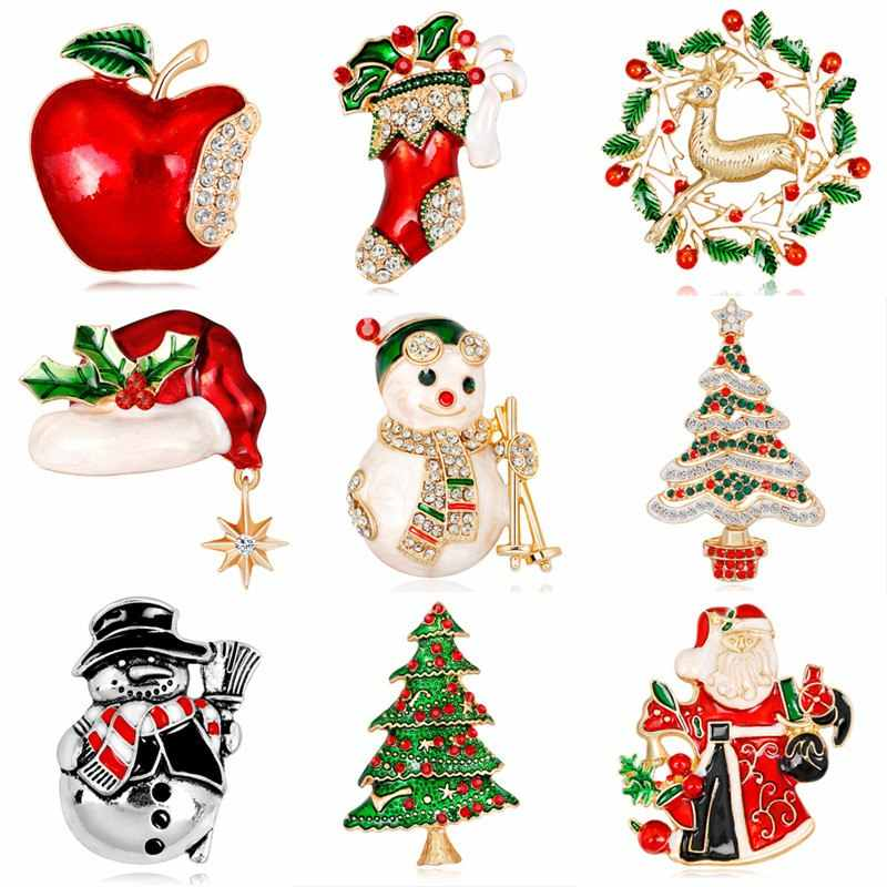 New Kawaii Christmas Enamel Brooch Tree Nice Red Shoe Boot Bell Deer Snowman Crystal Pin For Women Party Jewelry Christmas Gift
