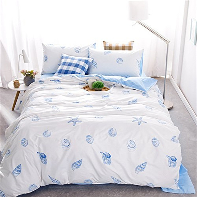 Fadfay Boys Nautical Bedding Sets Full Size Blue Beach Theme Duvet Cover Set 100 Cotton