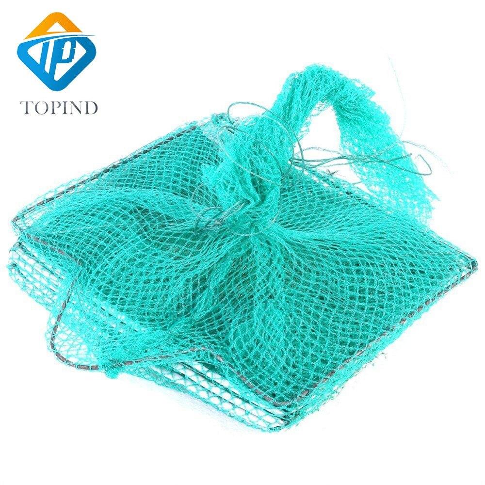 5 pièces 500 cm pliable en Nylon crabe crevettes méné Cage de pêche piège filet de pêche Portable maille 32x24 cm accessoires de matériel