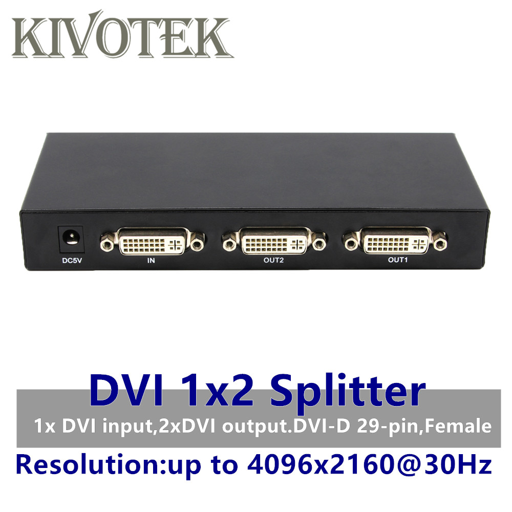 2 Ports DVI Splitter,Dual link DVI D 1X2 Splitter Adapter Distributor,4096x2160 DC5V Power For CCTV Monitor Camera Free Shipping-in Computer Cables & Connectors from Computer & Office