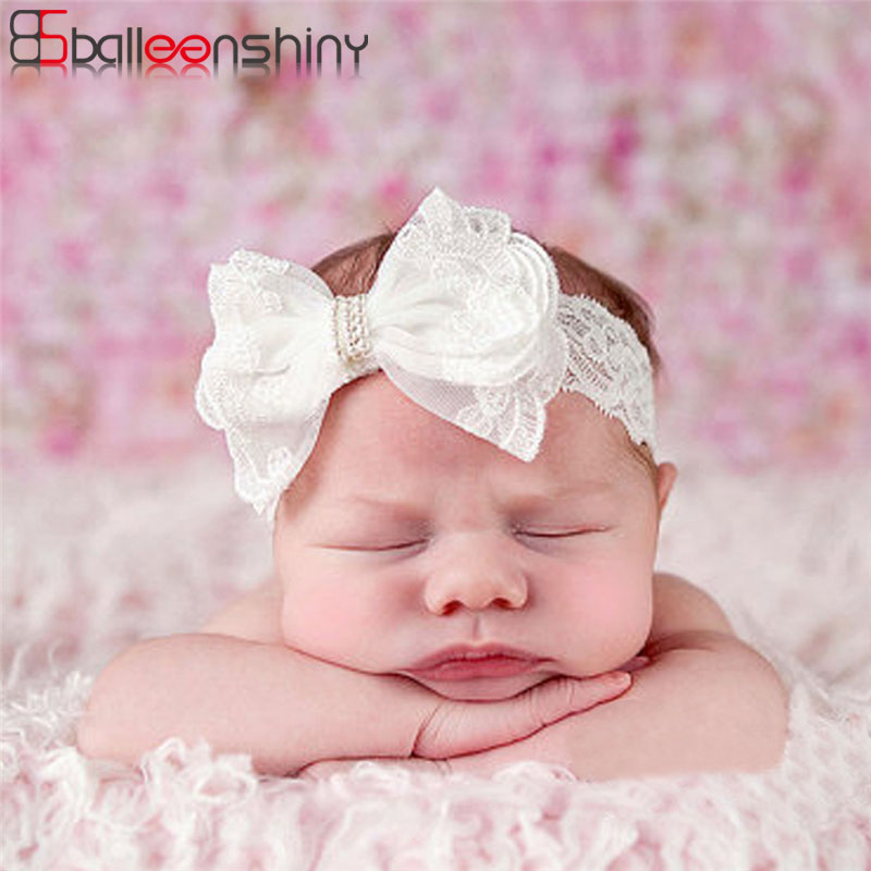 Balleenshiny White Lace Crystal Bow Baby Girl Headbands Elastic Hair Accessories Kid Headwear Newborn Hairband Photography Prop