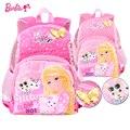 Barbie kids/niños kindergarten libros ortopédicos/bolso de escuela del morral del hombro de la cartera para las niñas