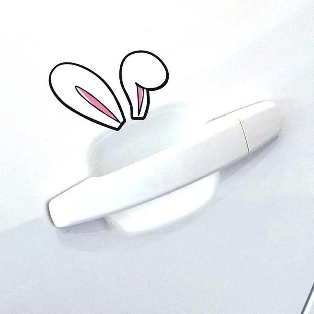 Aliauto 2 x Orejas de conejo coche decoración divertida manija de la puerta pegatina y Calcomanía para Smart Fortwo Vw Golf Mazda 3 kia Opel Renault asiento