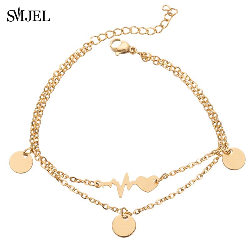 SMJEL Rock Wave ECG Heart Anklets Bracelets Leg Female Gold Chain Heart Charm Fashion Electrocardiogram Stainless Steel Jewelry