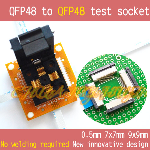 IC socket QFP48 to QFP48 test socket TQFP48 LQFP48 48 Pitch=0.5mm Size=7x7mm 9x9mm No welding tms320f28335 tms320f28335ptpq lqfp 176