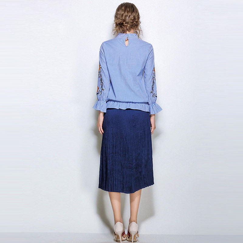 fefe08f47f4 Willstage 5XL Plus size Blue Striped Blouse Women Long Sleeve Ruffle Tops  Floral Embroidery Oversize Shirt Large 2018 Spring New-in Blouses   Shirts  from ...