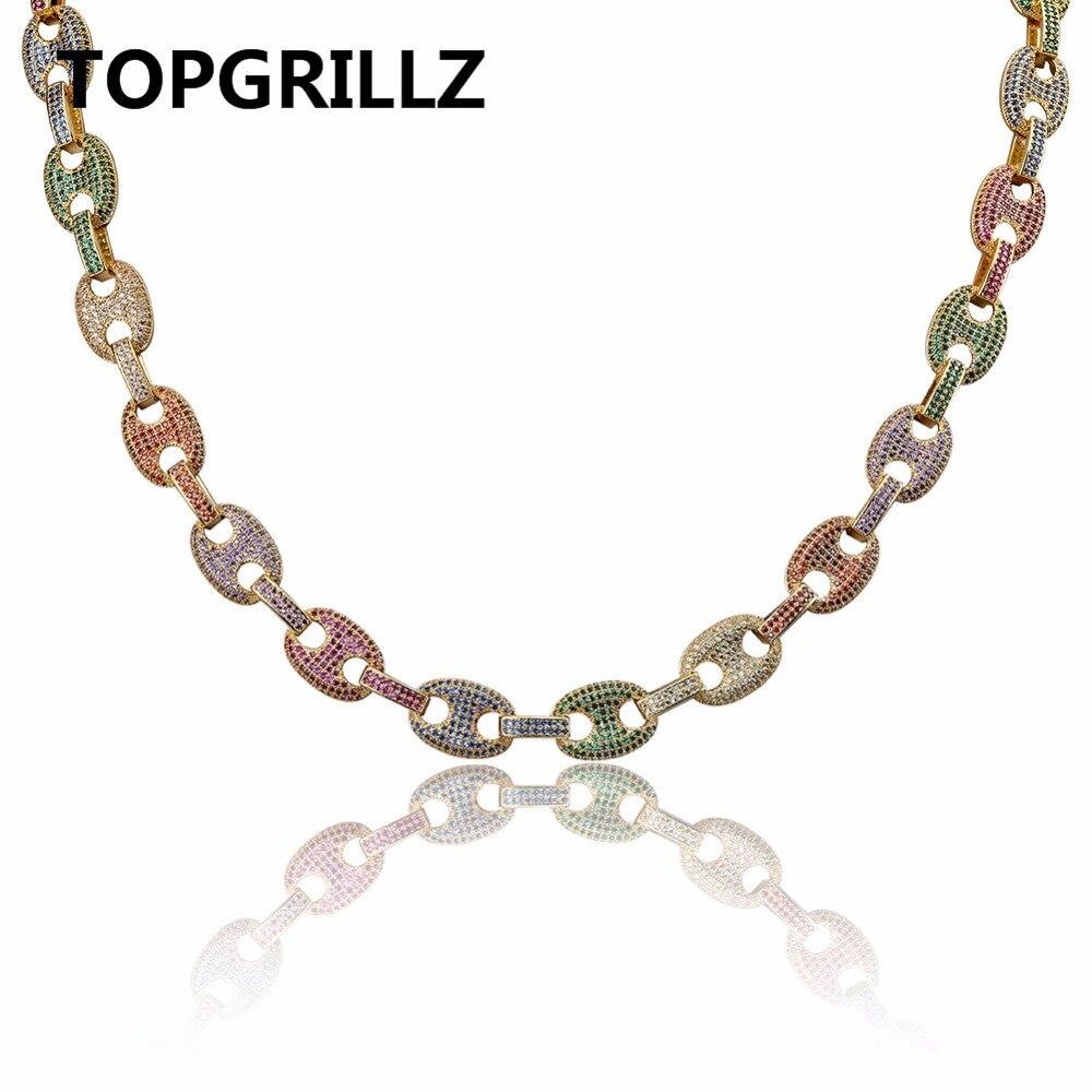 TOPGRILLZ хип хоп Для мужчин Jewelry колье Медь золото/серебро Цвет покрытием Iced Out AAA + CZ Multi Цвет цепи цепочки и ожерелья с 18 22 дюйма